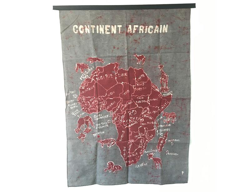 Batik Wandbehang - Kontinent Afrika - Grau