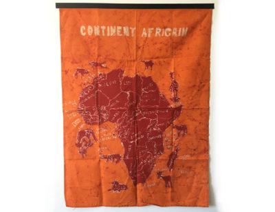 Batik Wandbehang - Kontinent Afrika - Orange