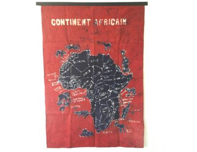 Batik Wandbehang - Kontinent Afrika - Rot