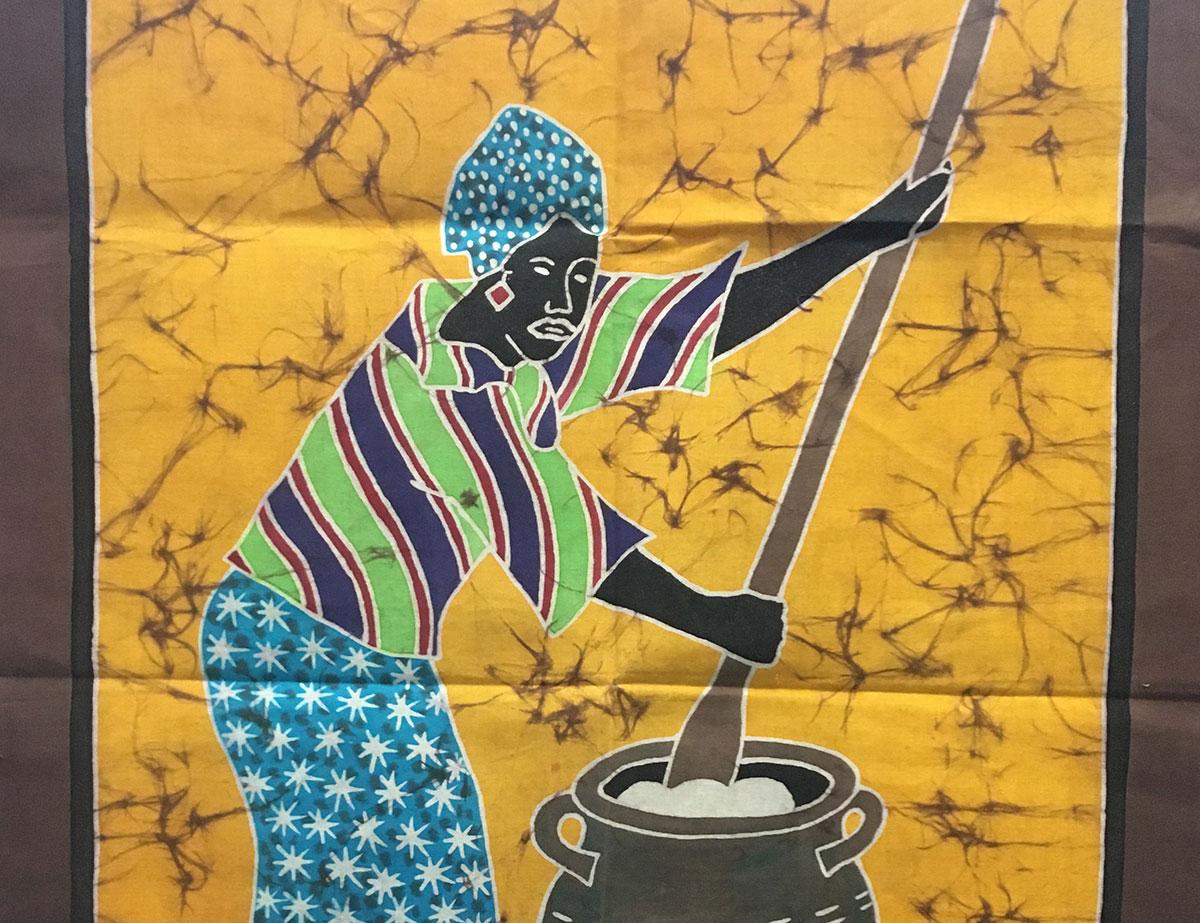 "Batik ""Frau beim kochen"""