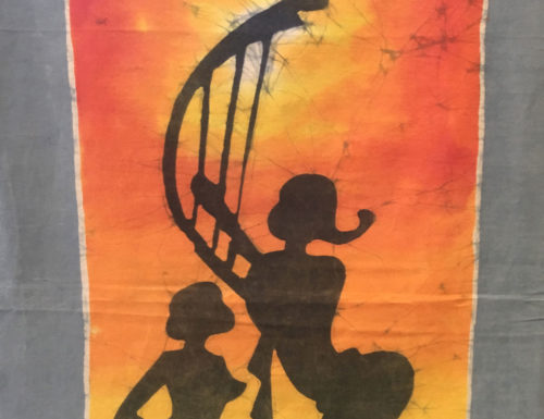 """Batik """"Frauen tanzen vor Abendsonne"""""""