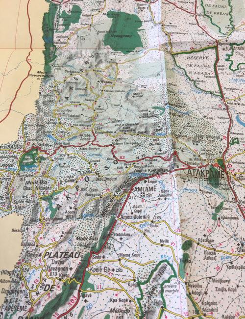 Detailansicht der Straßen- und Landkarte von Togo